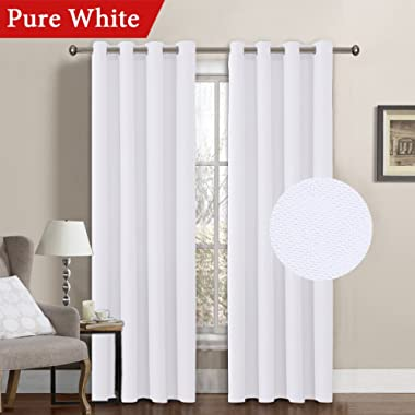 Linen Curtain White Thermal Insulated Grommet Room Darkening Rich Linen Curtains Window Treatment Panel for Bedroom Burlap Textured Linen Curtain for Living Room, Pure White, 52 by 96 Inch (1 Panel)