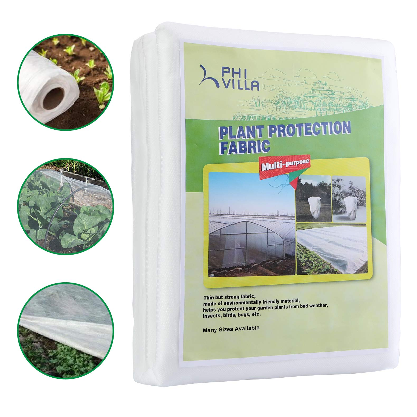 PHI VILLA Floating Row Cover Plant Blanket 0.7oz Fabric 8x100ft,Seed Germination and Frost Protection by PHI VILLA
