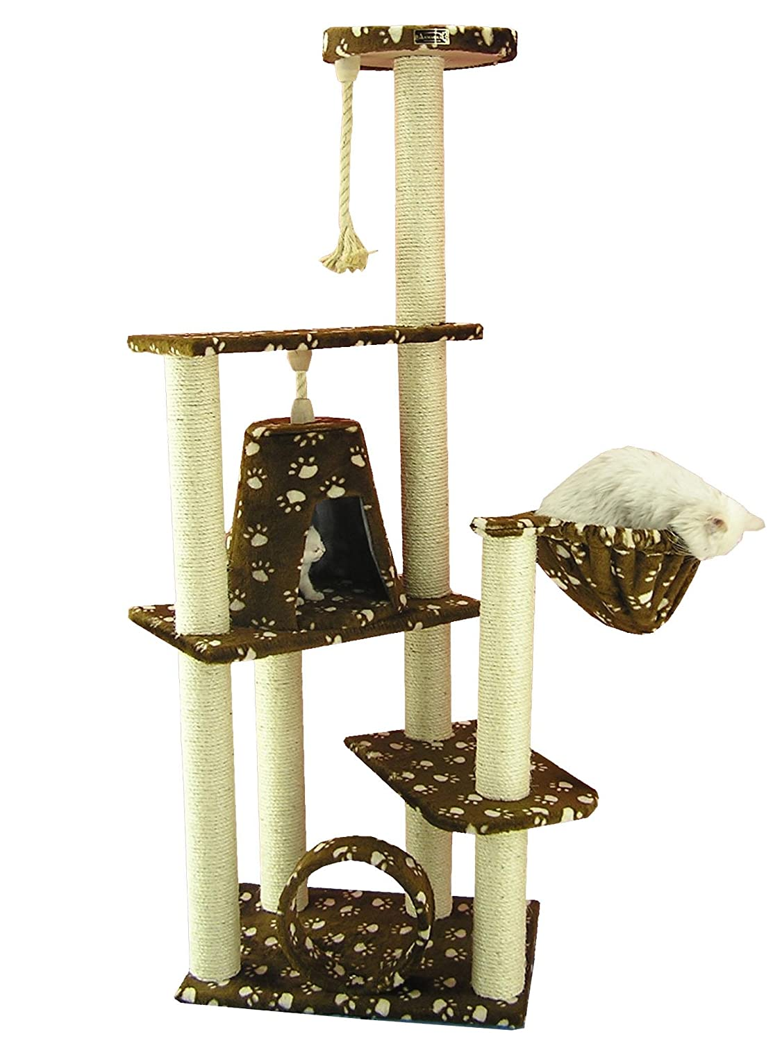 Amazon.com : Armarkat Cat Tree Model A6601, Saddle Brwon W/White Paw Print  : Multi Cat Jungle Gym : Pet Supplies