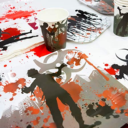 65+ Pieces for 16 Guests! Blue Orchards Zombie Standard Party Packs Tableware blueorchards Birthdays Zombie Party Supplies