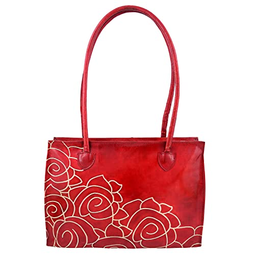 b33fa10d1aa4 ZINT WOMEN S HAND TOOLED HAND PAINTED PURE LEATHER SHANTINIKETAN RED FLORAL  HANDBAG SHOULDER TOTE BAG  Amazon.in  Shoes   Handbags