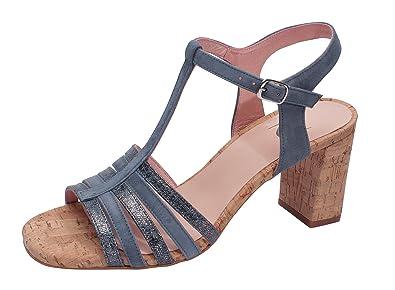 Marion Spath Damen 361-118 Wildleder Sandale mit Korkabsatz