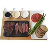 Cooking Stone - Complete Set Lava Hot Steak Stone Plate and Cold Lava Rock Hibachi Grilling Stone w Ceramic Side Dishes…