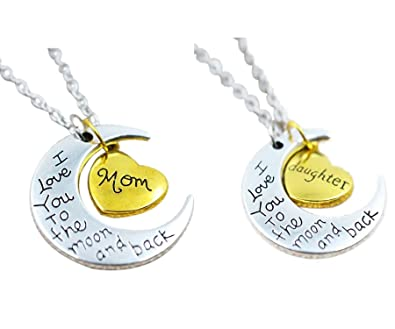Amazon tricess i love you to the moon and back chain pendent tricess i love you to the moon and back chain pendent mom and daughter 2 pc mozeypictures Choice Image