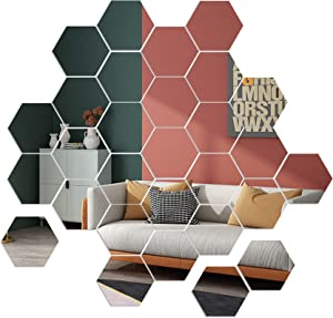 Mirror Wall Stickers, 36pcs Removable Acrylic Wall Decals, Hexagonal Adhesive Mirror Tiles Wall Decor for Home Living Room Bedroom DIY, Non Glass (5 x 4.5 x 2.5 inch)