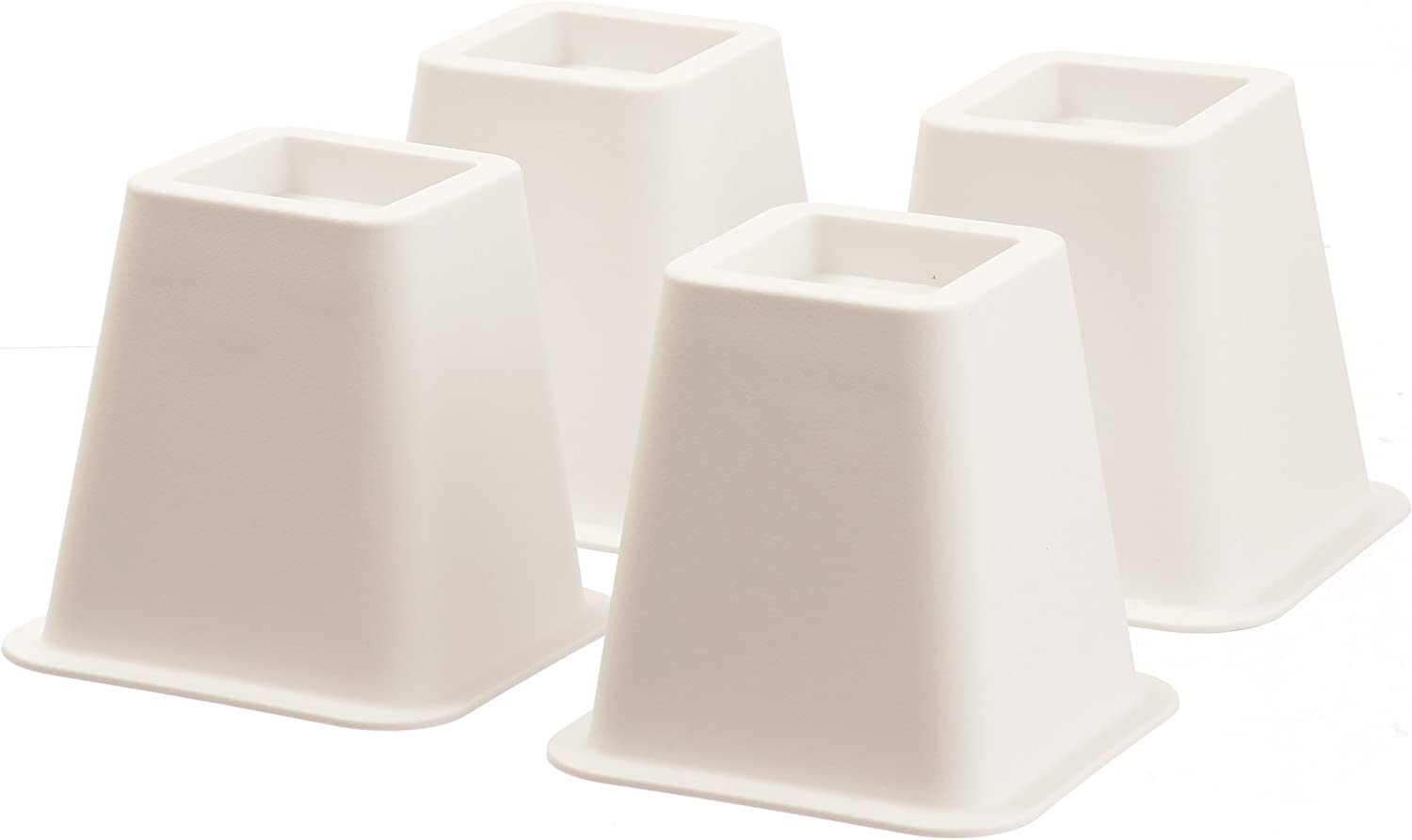Home-it 5 to 6-inch Super Quality Black Bed risers, Helps You Storage Under The Bed 4-Pack (White)