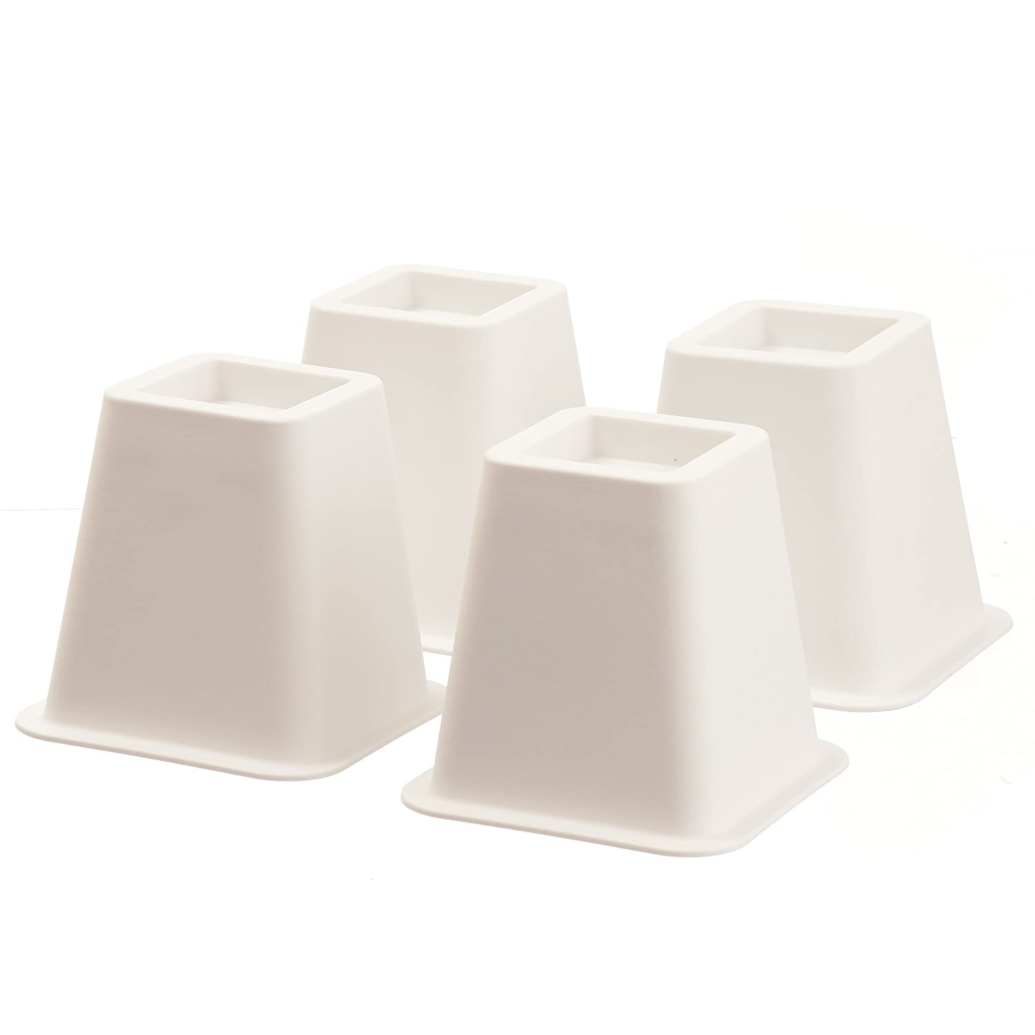 Home-it 5 to 6-inch SUPER QUALITY White bed risers, helps you storage under the bed 4-pack SYNCHKG054641