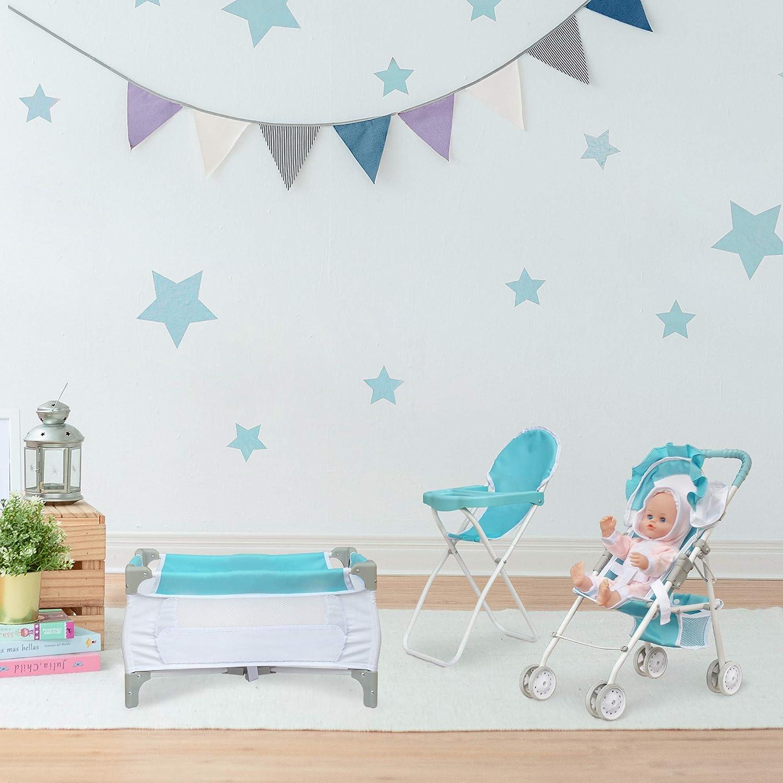 Olivia's Little World 3-in-1 Baby Doll Nursery Set, Blue/White
