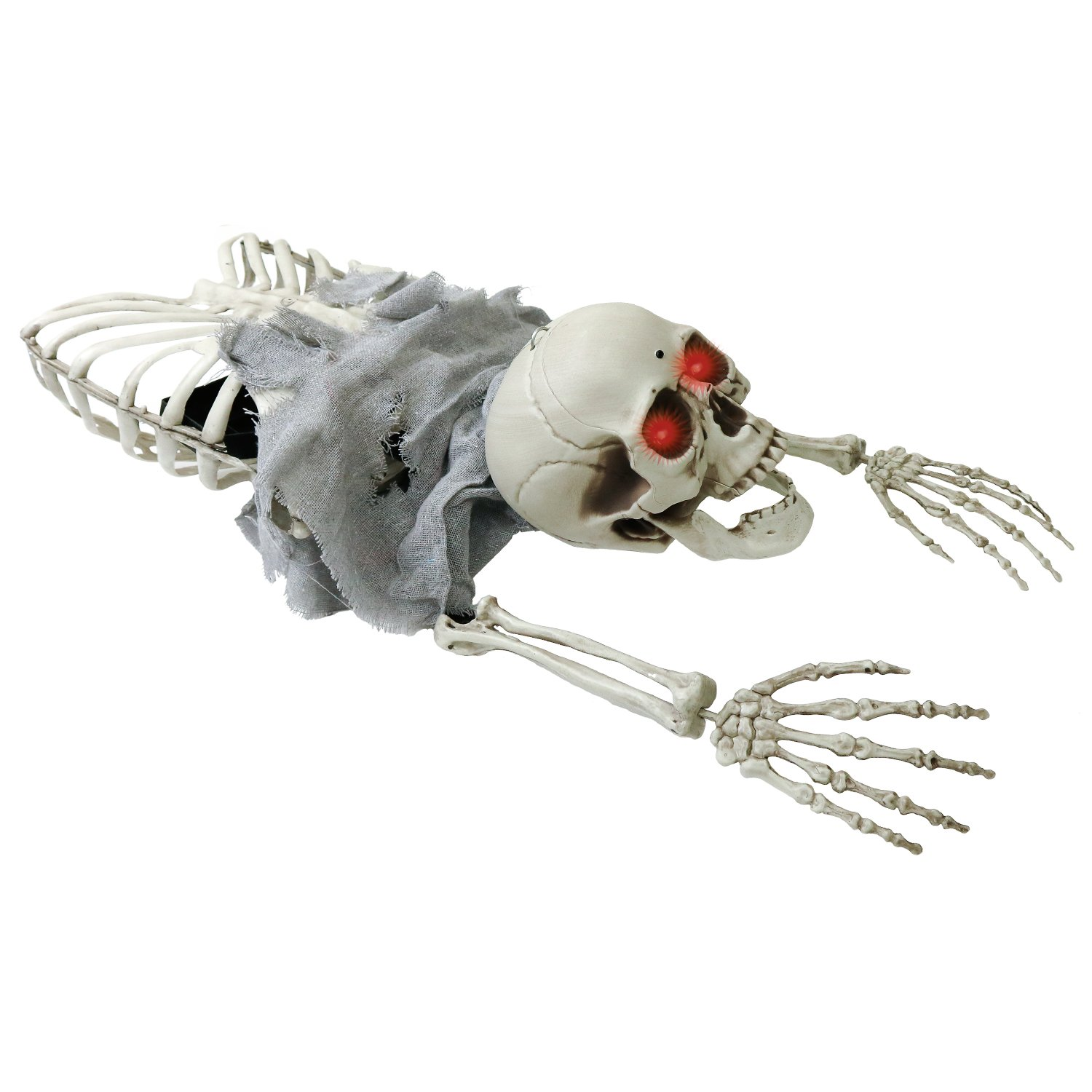 Halloween Haunters Animated Crawling Skeleton Pirate Prisoner Groundbreaker Graveyard Prop Decoration Light Up Eyes, Chains & Shackles