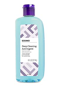 Amazon Brand - Solimo Deep Cleaning Astringent for Sensitive Skin, Salicylic Acid 0.5% Acne Medication, 8 Fluid Ounce