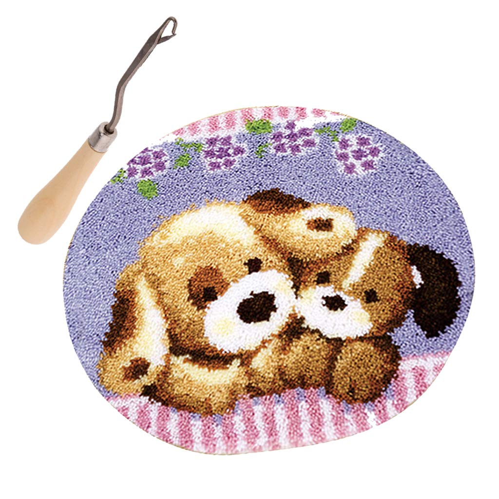 Prettyia Latch Hook Kits Carpet Hooking Rug Kit Cushion Embroidery Toy Bear