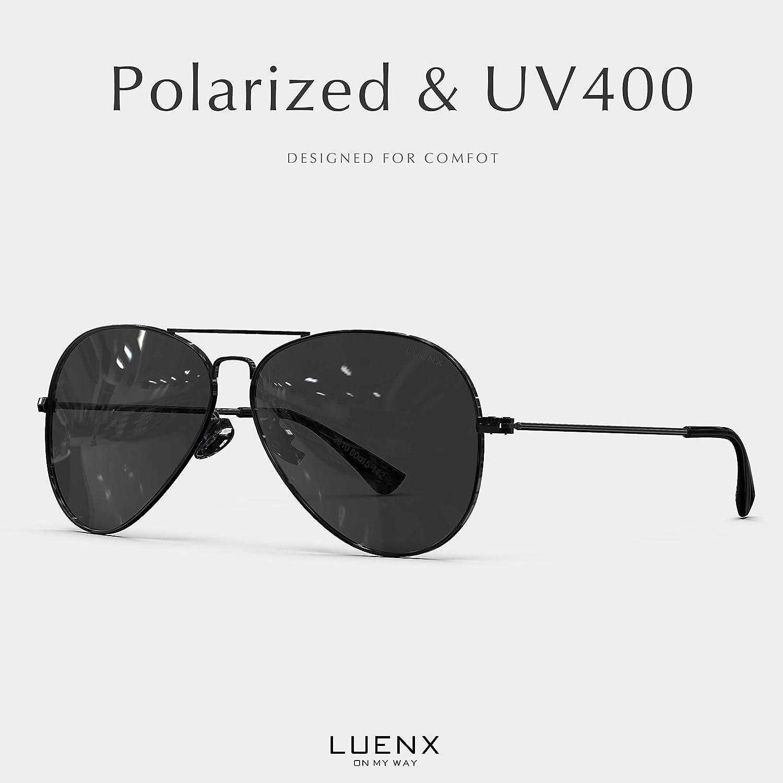 b3cf351d4d63 Amazon.com   LUENX Aviator Sunglasses Polarized Mens Womens Black Lens  Black Metal Frame 60mm   Sports   Outdoors