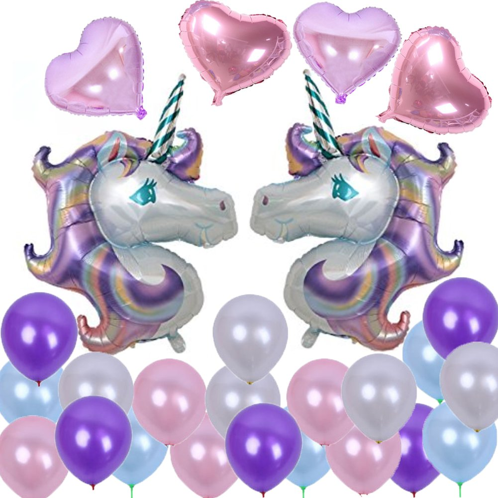 34 inch Huge Unicorn Foil Balloon with Heart Foil Helium Balloons Lavender Pink Latex Balloon for Kids Birthday Decorations Party Decorations Supplies Baby Shower (30pcs) Sakolla