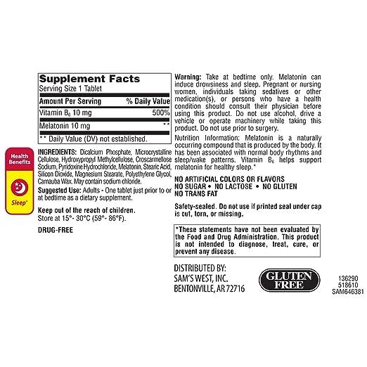 Amazon.com: Members Mark 10 mg Melatonin Dietary Supplement (250 ct.): Health & Personal Care