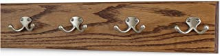 product image for Solid Oak Wall Mounted Coat Rack Satin Nickel Double Style Hooks Ultra Wide Rail Chestnut 4.5 X 20 Inches with 4 Hooks