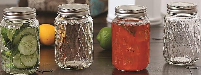 Tarros de cristal Mason beber tazas/tazas con tapa de metal, Set de 4, 17 oz cada,