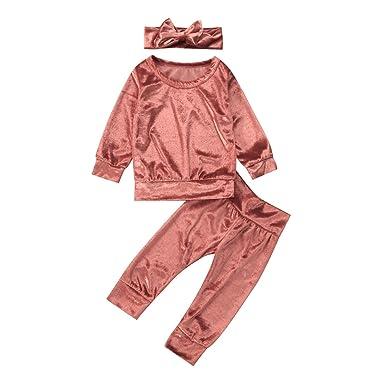 cf50719c06 Amazon.com: Autumn Toddler Baby Girls Clothes Warm Velvet Tops Sweatshirt+  Pants +Headband Outfits 3PCS Baby Clothing: Clothing