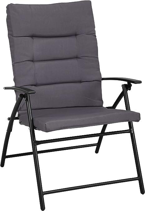 Havnyt - Juego de 2 sillones Plegables para jardín (Metal, con cojín Gris y 2 Posiciones reclinables): Amazon.es: Jardín