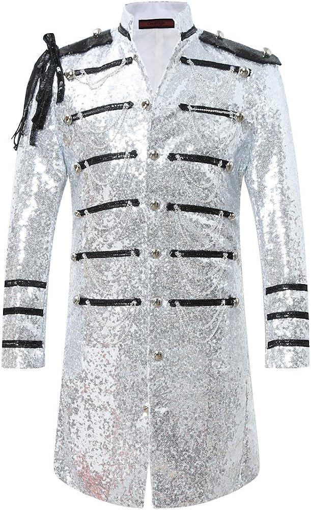 Mens 2-Piece Suit Fashion Sequin Party Prom Dinner Blazer Tuxedo Jacket Trousers