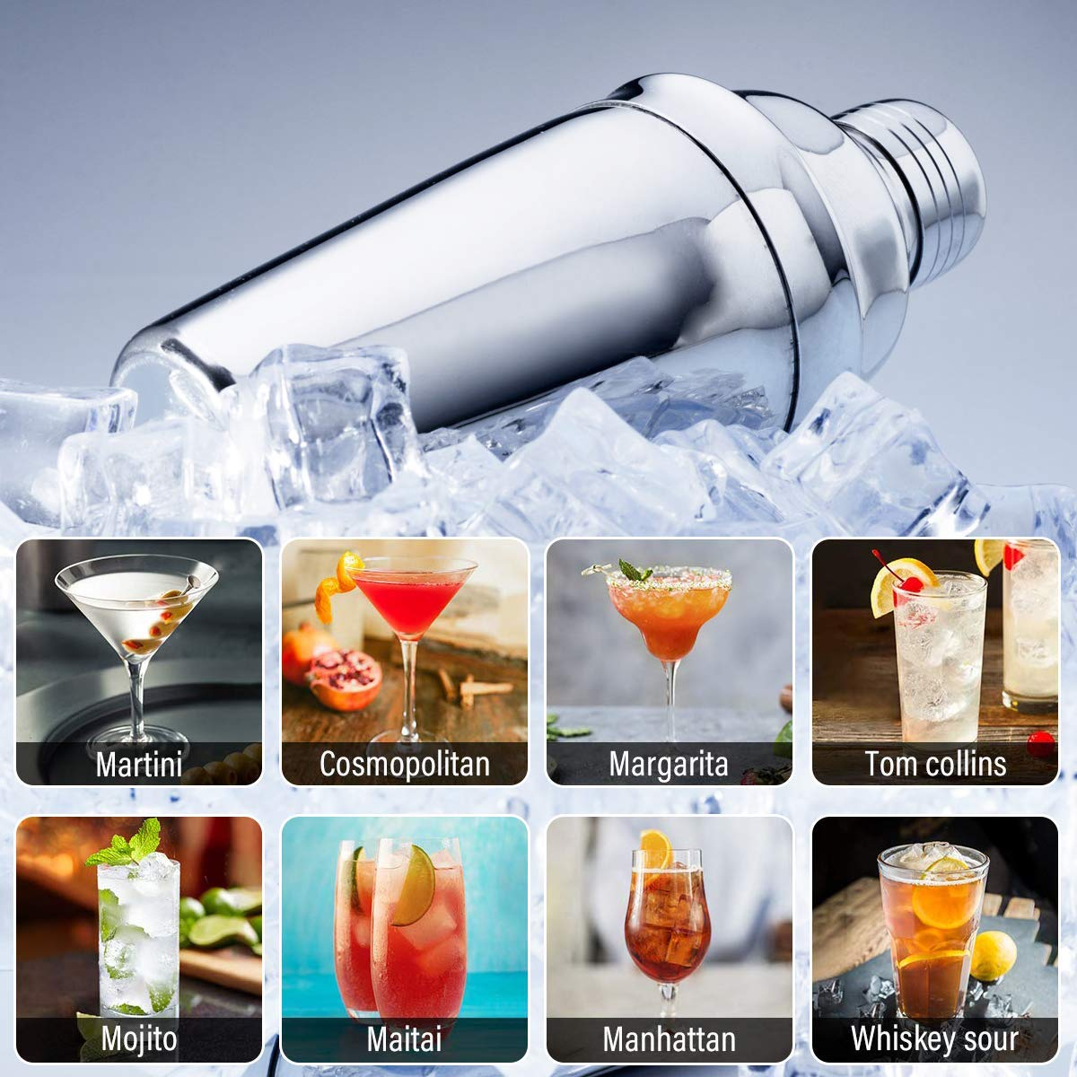 15 Piece Bartender Kit Cocktail Shaker Set with Stand: Home Bar Tools Set - Shaker with Strainer, Muddler, Jigger, Stand, Ice Thong and More - with Cocktail Recipes - Cocktail Shaker Stainless Steel by SUPERSUN (Image #4)