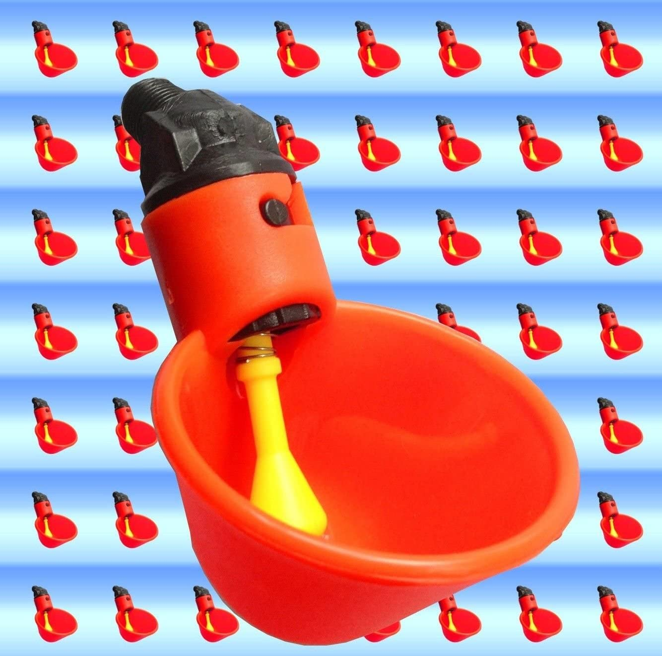 6 AUTOMATIC WATERER DRINKER CUPS CHICKEN COOP POULTRY CHOOK BIRD TURKEY DRINK