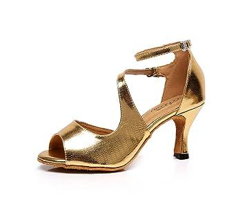 JSHOE Frauen PU Latin Salsa Tanzschuhe Salsa/Tango/Tee/Samba/Modern/Jazz Schuhe Sandalen High HeelsGold-heeled10cm-UK6...