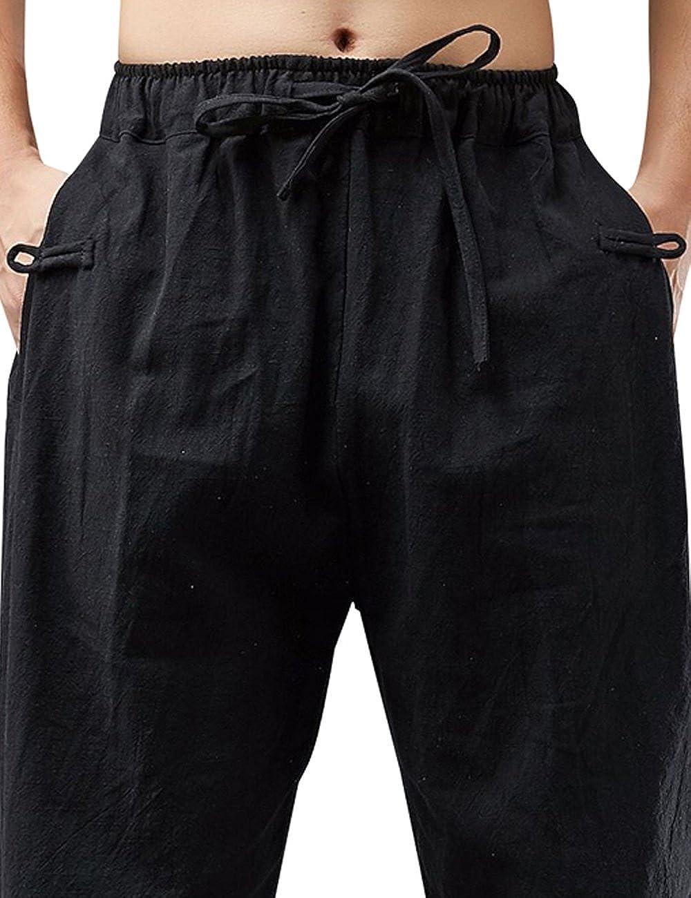 Youlee Hombres Primavera Cintura el/ástica Lino Pantal/ón Pantalones Harem