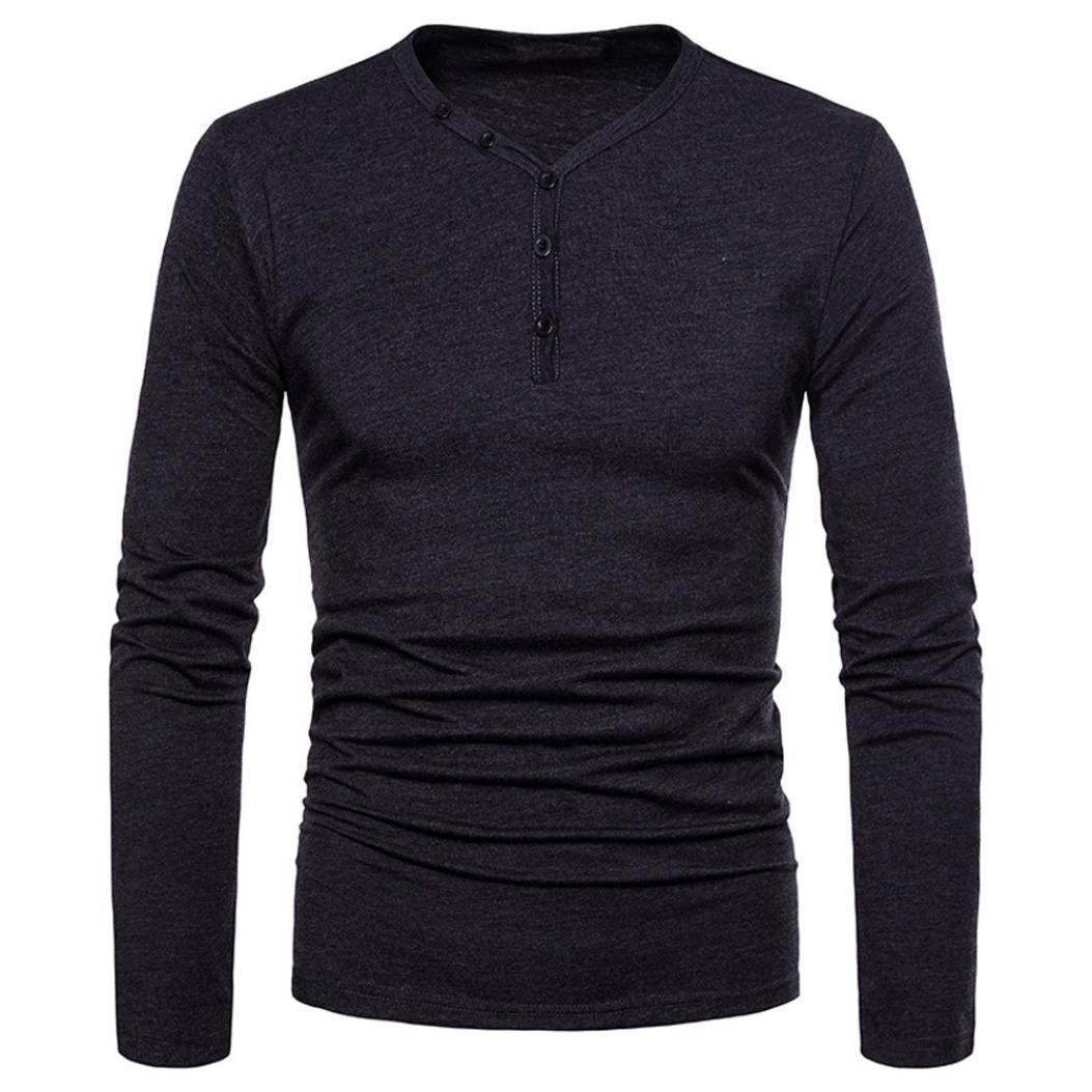 Mens T Shirts Clearance Sale vermers Fashion Men's Personality Slim Fit Tees Casual Long Sleeve Solid Top Blouse(2XL, Dark Gray)