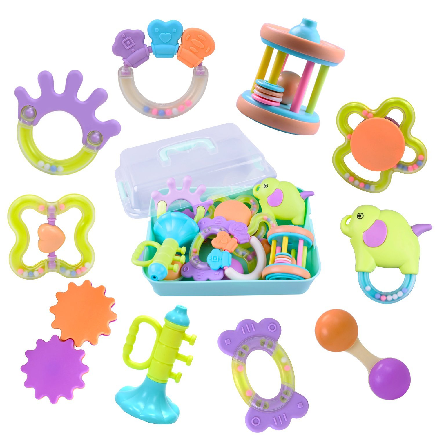 10 Baby Rattles, Infants Teething Toys, Babies Teether, Ball Shaker, Grab, Spin Rattle, Musical Sounds Play Gift Set for 1, 2, 3, 4, 5, 6, 7, 8, 9, 11, 12, 18 Month Year Olds Newborn, Boy, Girl, Kids iPlay iLearn