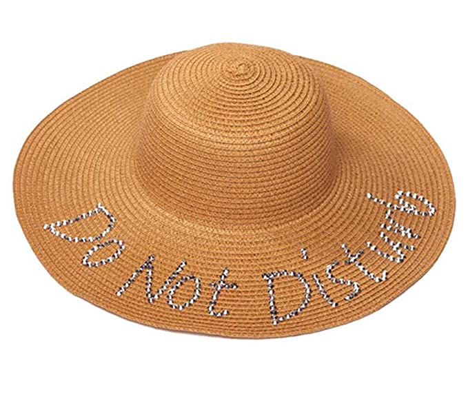 9780fa2aa08 Womens Do Not Disturb Sequined Wide Brim Sun Hat - Natural at Amazon ...