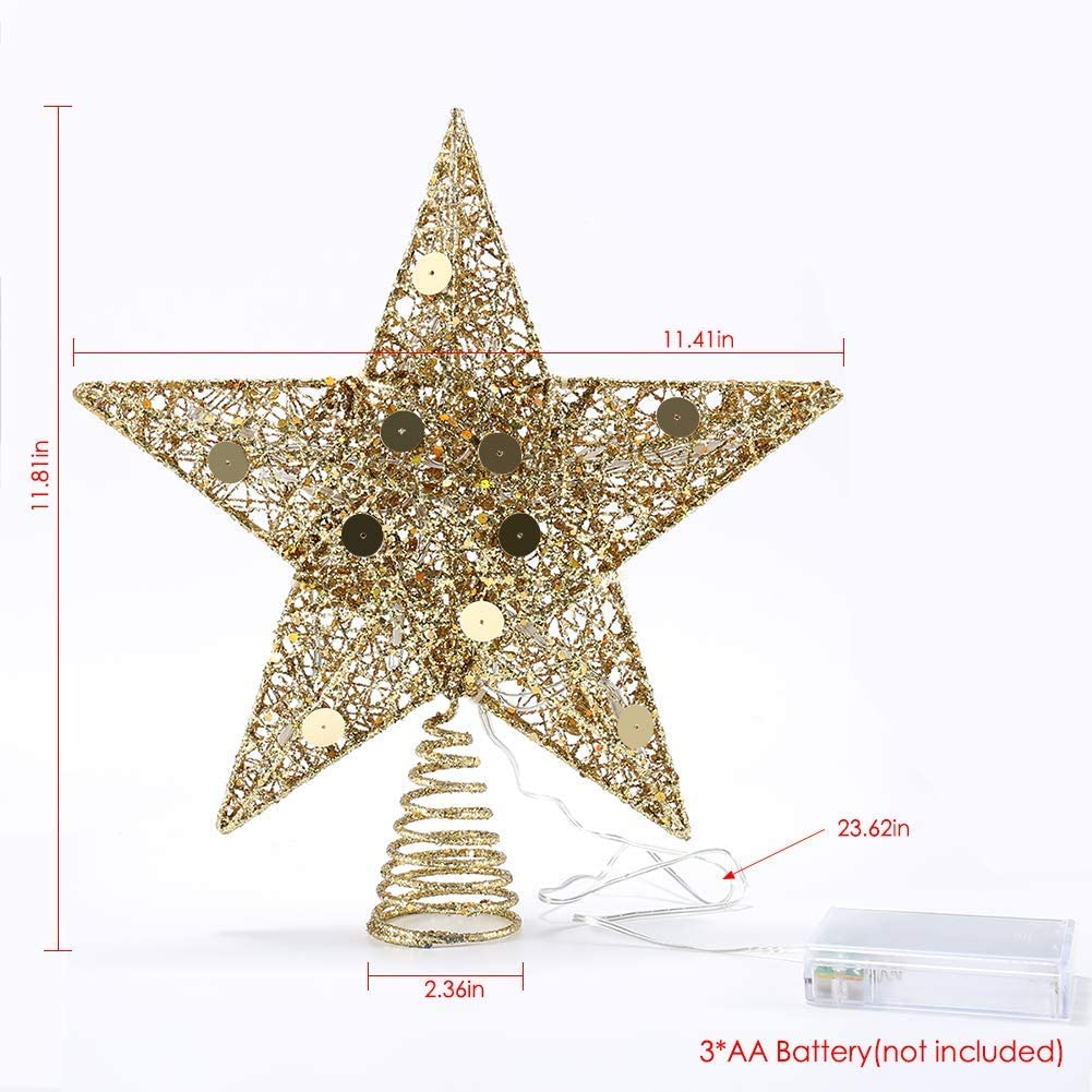 Renewed Delicacy 11.5 Gold Christmas Tree Topper Star with LED Lights Treetop Decoration for Christmas Home Decor