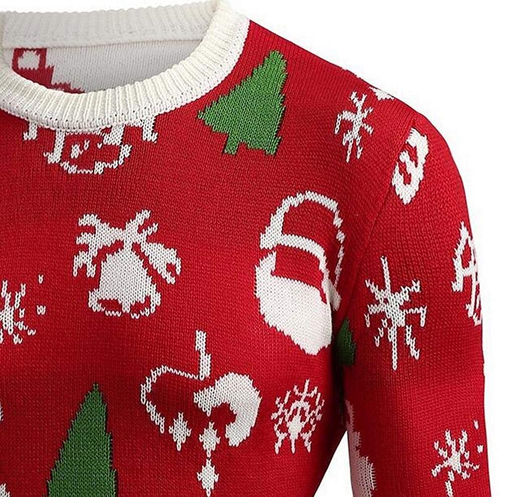 Jotebriyo Men Round Neck Knit Casual Christmas Pullover Sweaters Jumper