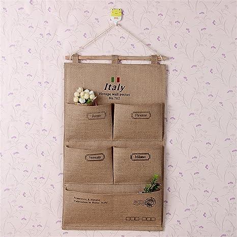 MyTop bolsillos calcetines sujetador ropa interior de almacenamiento organizador para carrito, pared tela de la