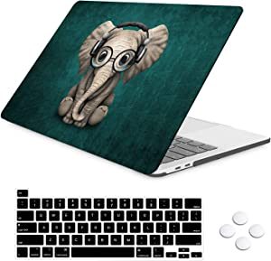 iLeadon MacBook Pro 13 inch Case 2020 Release Model A2251 A2289, Soft Touch Plastic Hard Shell Case with Keyboard Cover Only Compatible 2020 MacBook Pro 13 with Touch Bar Fits Touch ID, Cute Elephant