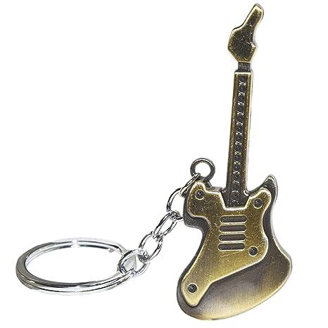 Gosear Mini Guitarra eléctrica antigüedad en Forma de Llavero de Metal Llavero Llavero