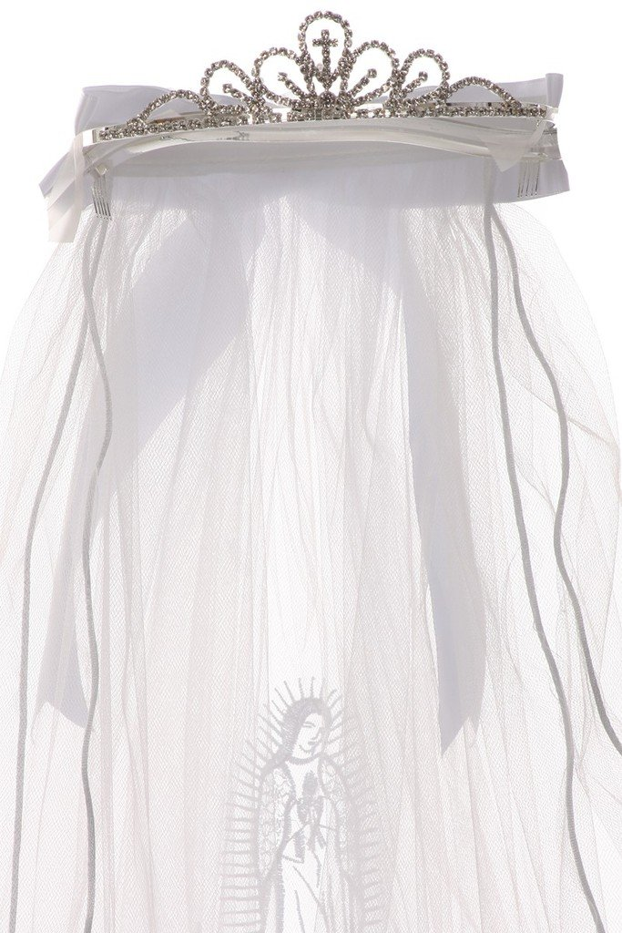 First Communion Veil with Virgin Mary & Selection of Flower Girl Tiara