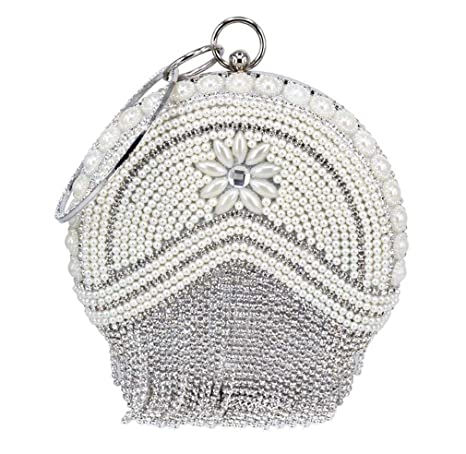 19402ec8d1 Amazon.com: WANHUIBAO Circular Gold Silver Women Bag Crystal Tassel ...