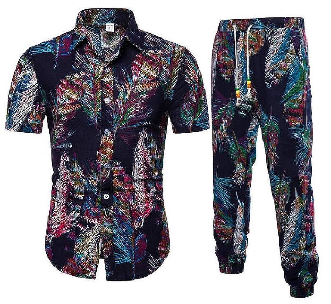 Spirio Mens Short Sleeve Button Up Shirt /& Jogger Pants Summer Plus Size Print Outfits 2 Pieces Set