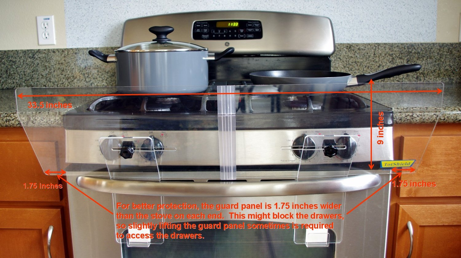 Amazon.com : TotShield Stove Guard For Free Standing Gas And Electric Stove  : Stove Safety Covers : Baby