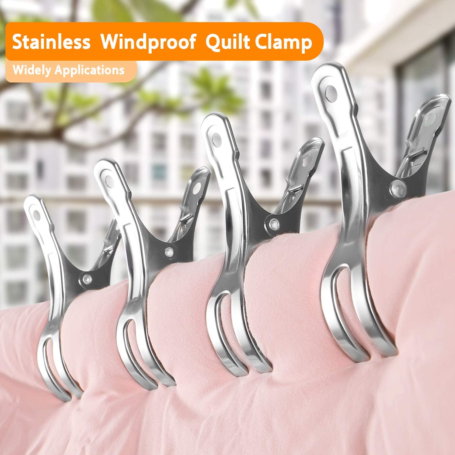 4.3 Inch Jumbo Size Clothes Pin Keep Your Towel//Quilt//Clothes from Blowing Away 12 Pack Heavy Duty Stainless Steel Quilt Clips Hersolm Beach Towel Clips Clamps