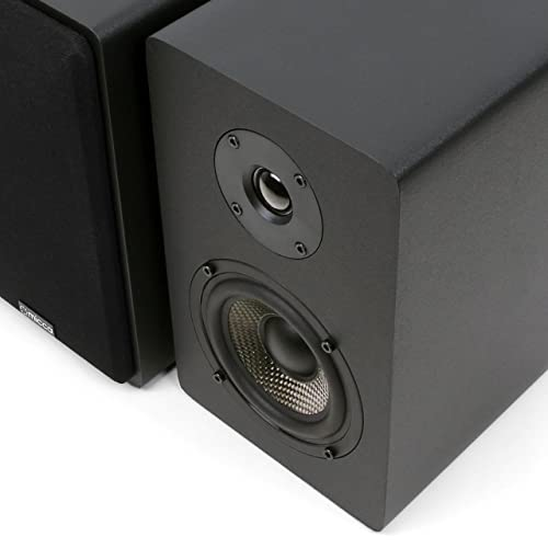 Micca MB42X Bookshelf Speakers with 4-Inch Carbon Fiber Woofer and Silk Dome Tweete
