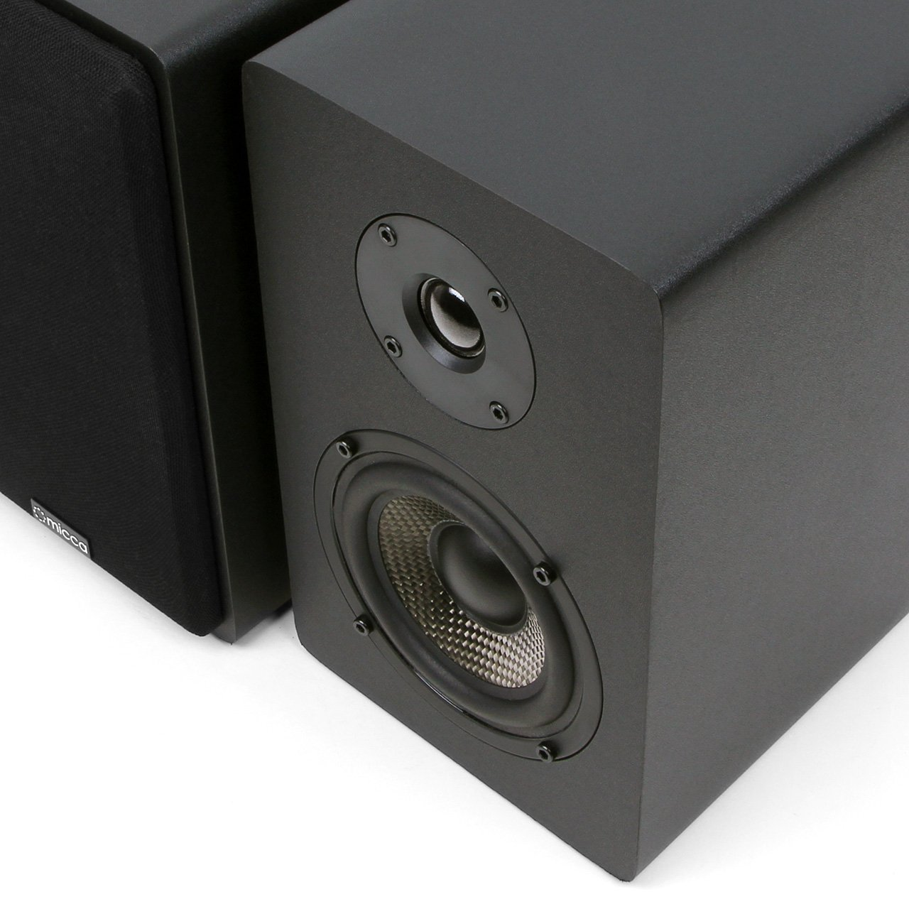 Micca MB42X Bookshelf Speakers With 4-Inch Carbon Fiber Woofer and Silk Dome Tweeter (Black, Pair) by Micca (Image #3)