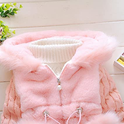 ab95e6dd2096 Amazon.com  Ancia Baby Girls Infant Winter Knited Fur Outerwear Coats  Snowsuit Jackets  Clothing