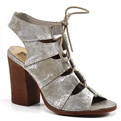 ee37aab41a Amazon.com | Diba True Tren Dee Lace Up Heel (6.5, Silver Metallic) | Shoes