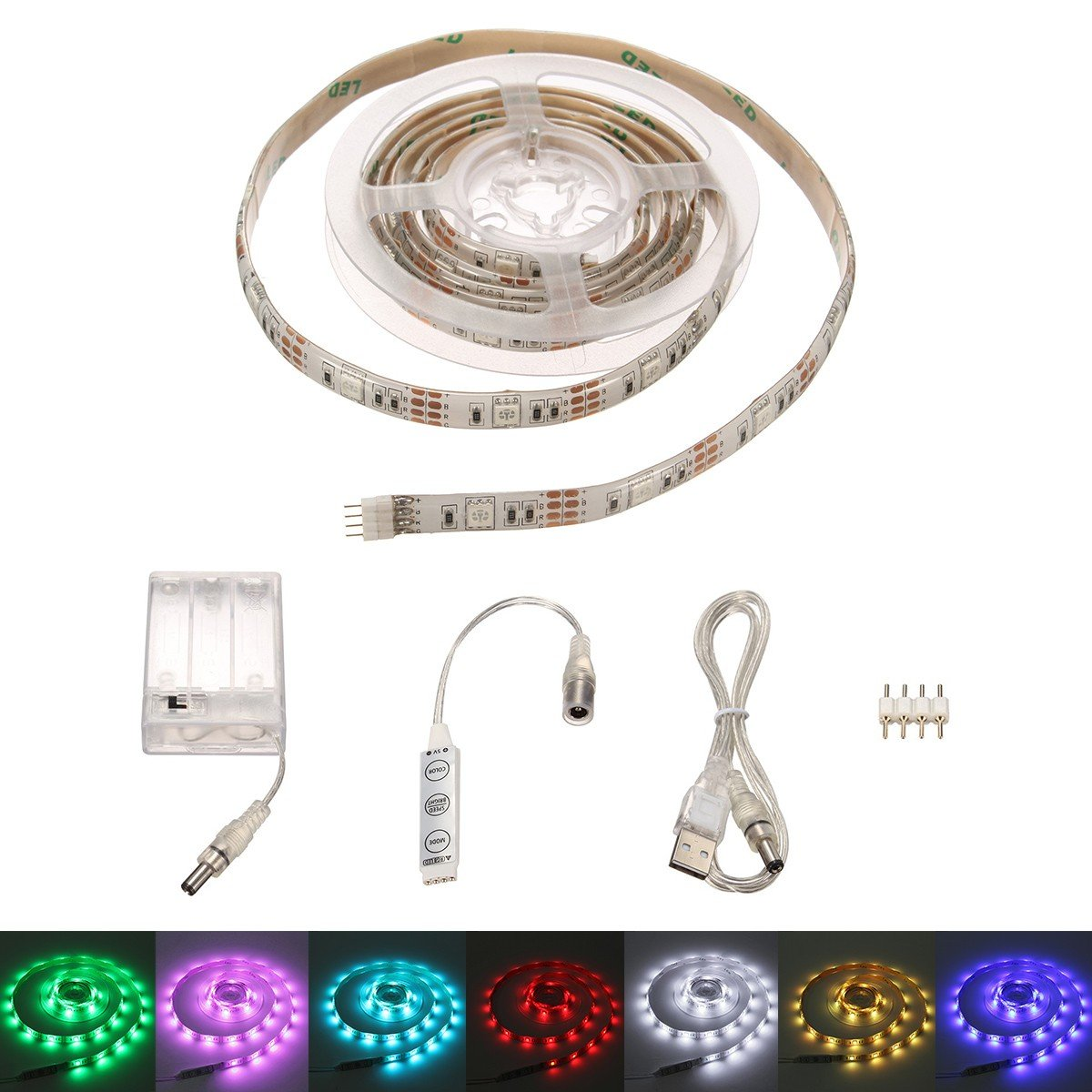 Glisteny Strip Light, Flexible Lighting Ribbon USB Light Strips Waterproof 2M 5050 SMD 60 LED + Controller + Battery Box + 4 PIN For Gardens Home Car Bar DIY Party Decoration White Panel