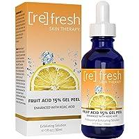 Fruit Acid Chemical Peel with Kojic Acid 15% - Lactic Acid, Glycolic Acid Natural Facial Gel Peel - 1oz / 30ml