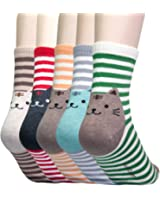 YourFeet Women's 5 Pack Cotton Lovely Cute Animal Cat Designed Funny Casual Socks Good Gift - One Size 6-9