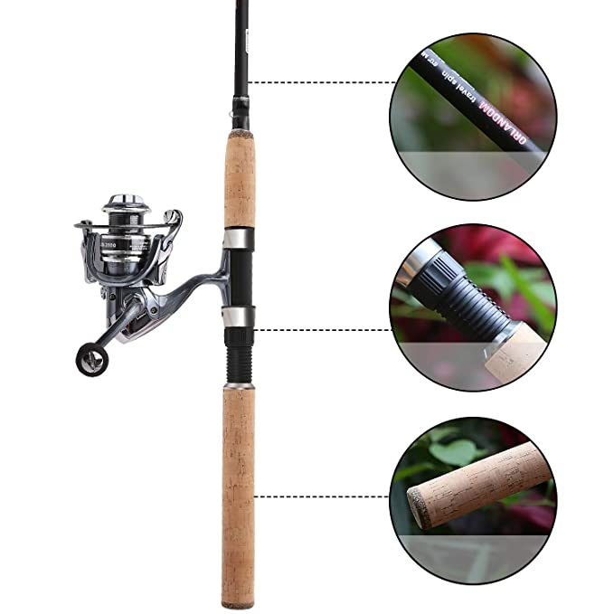 SANLIKE Fishing Pole, Portable Light Weight Fishing Rod, Travel Lure Rod-5 Section with Carbon Fiber,Casting Spinning Bass Fishing Rod