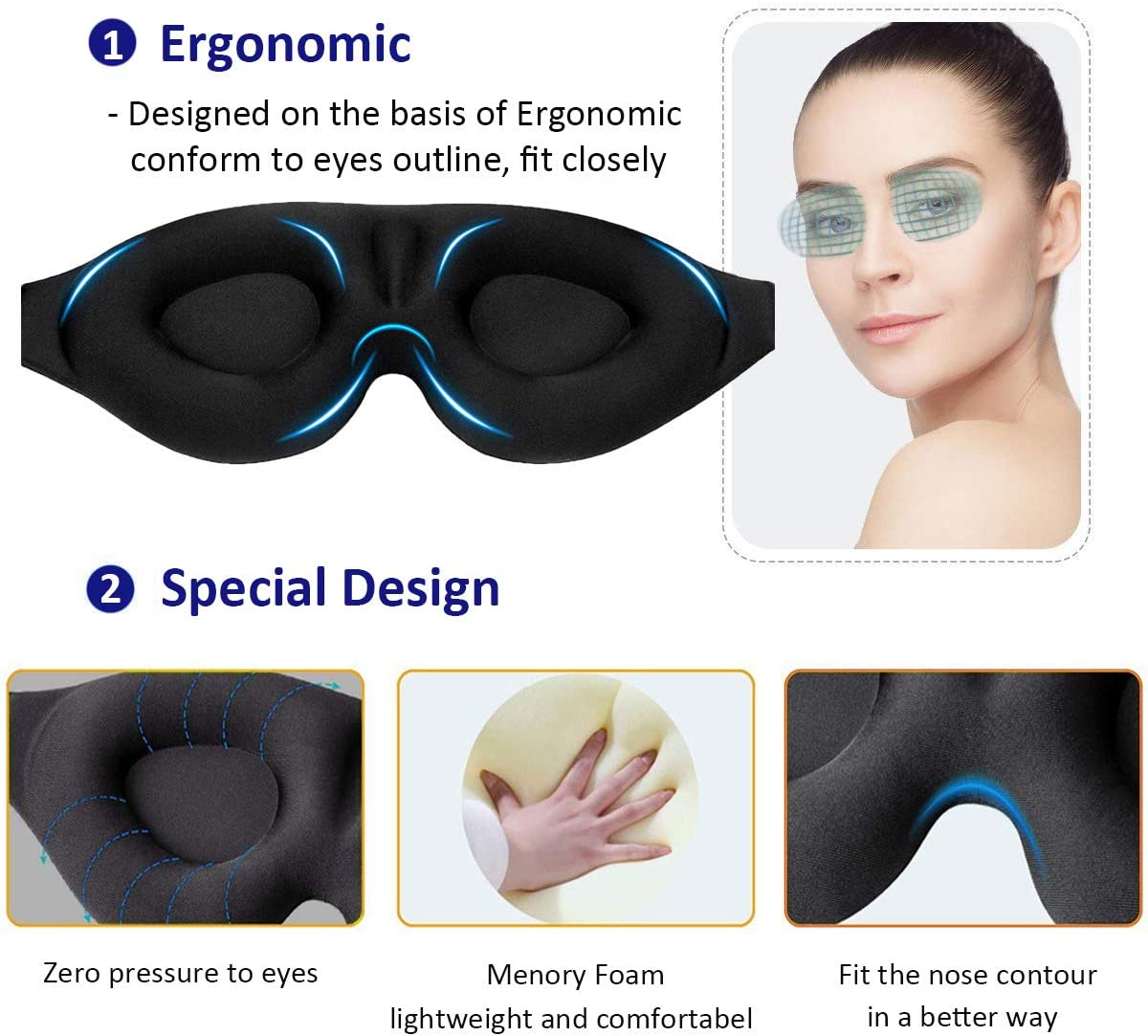 MZOO Sleep Eye Mask for Men Women, 3D Contoured Cup Sleeping Mask & Blindfold, Concave Molded Night Sleep Mask, Block Out Light, Soft Comfort Eye Shade Cover for Travel Yoga Nap, Black: Health & Personal Care