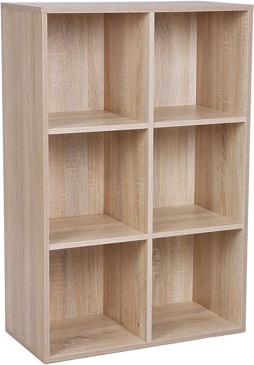 VASAGLE Estantería de Madera, Biblioteca, Organizador con 6 Compertimientos, 65,5 x 30,5 x 97,5 cm, Color Roble LBC203H, roble